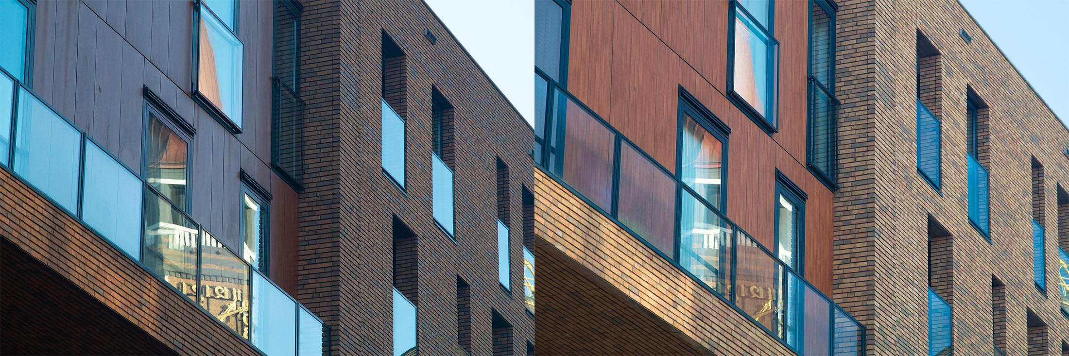 Een foto waarbij de reflecties zichtbaar zijn en eentje waarbij de reflecties door een polarisatiefilter verholpen zijn