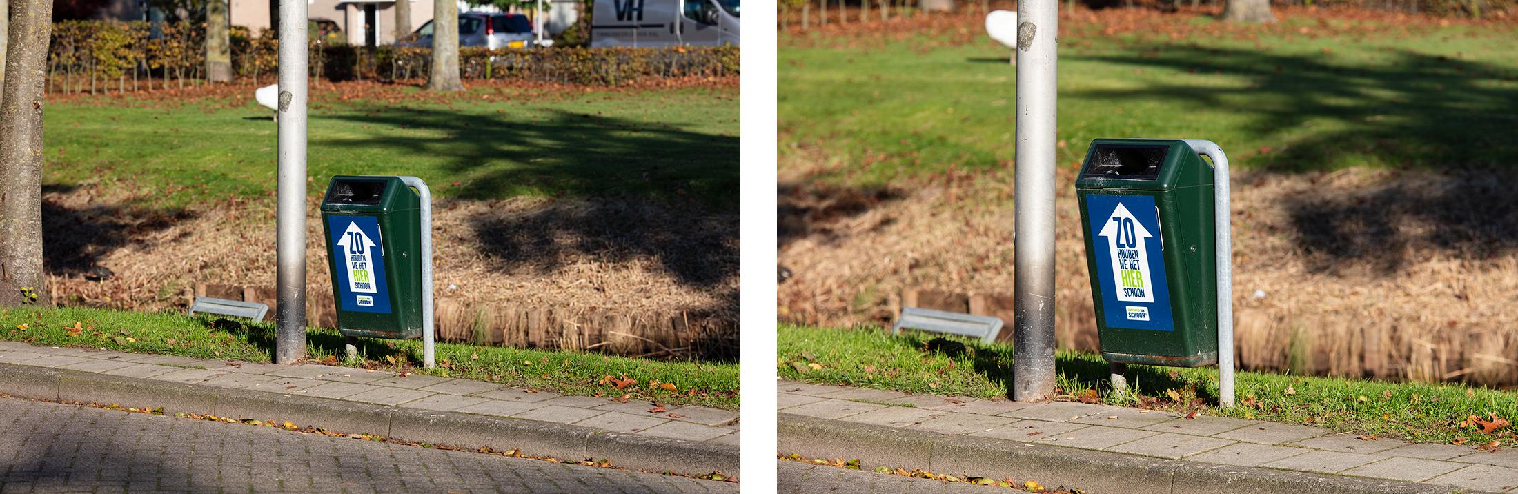 Voorbeeldfoto zonder en met een 1.4 extender