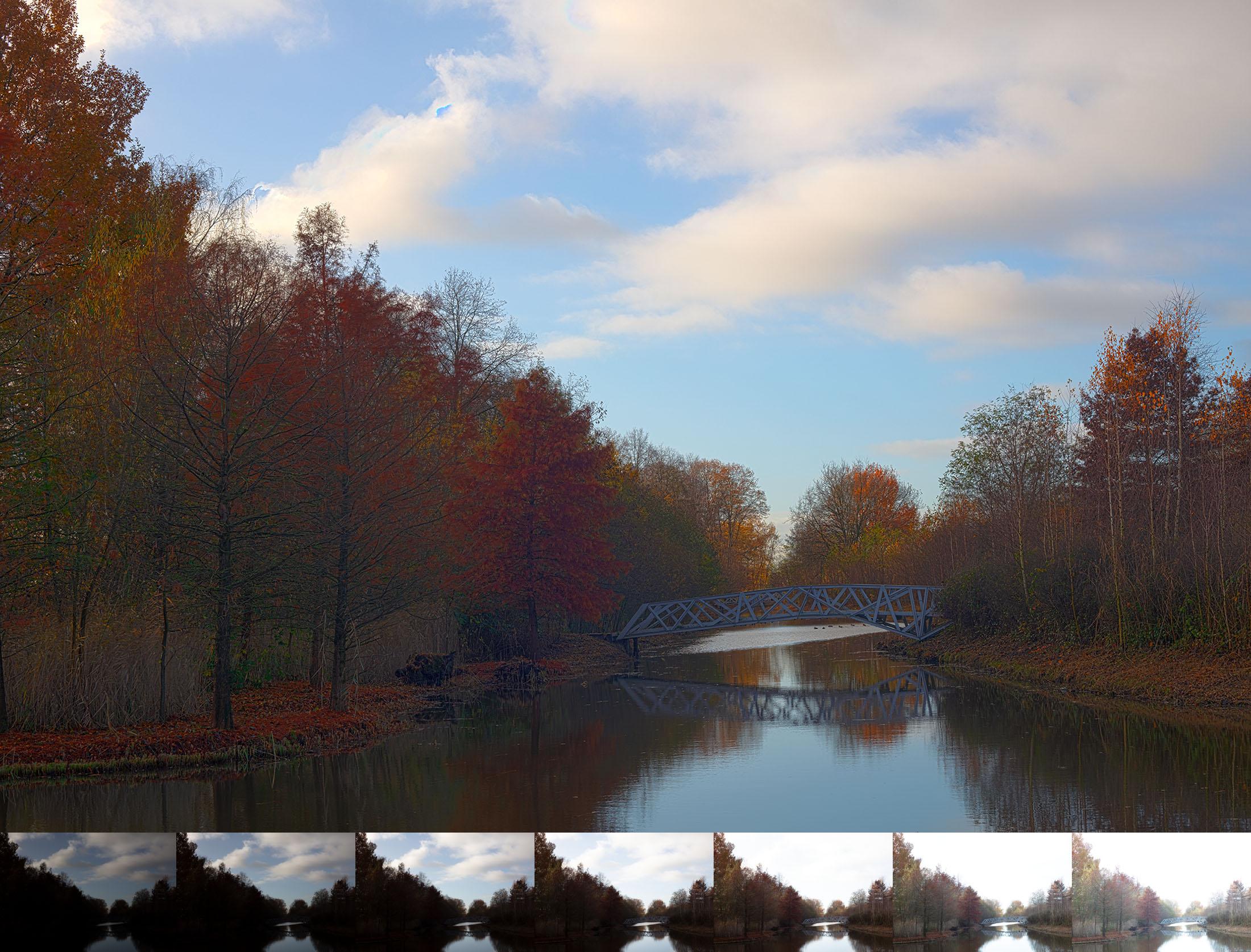 Drie foto's met verschillende belichtingen door bracketing