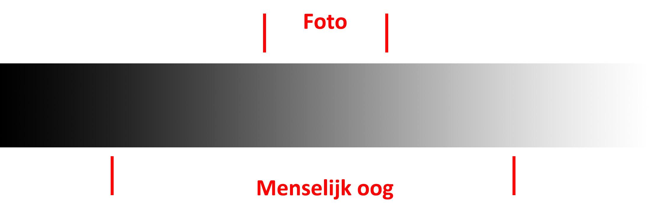 Dynamisch verschil tussen menselijk oog en een camera