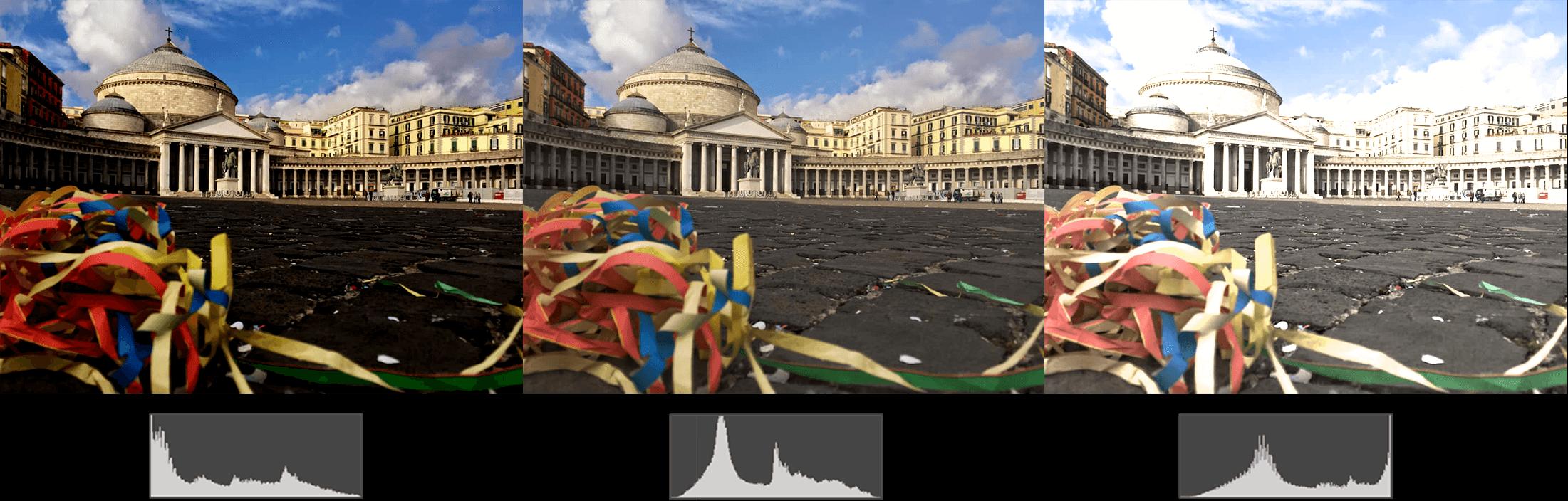 drie foto's met verschillende histogrammen