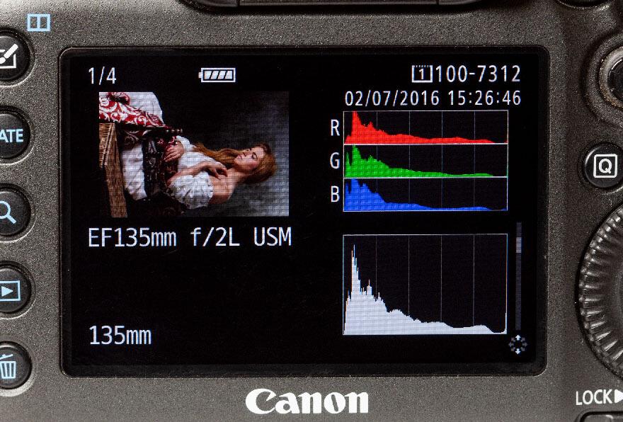Het histogram achter op een camera