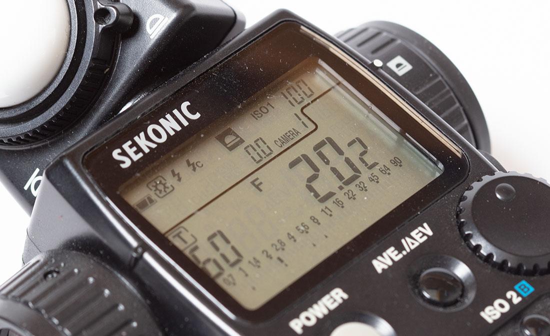 Het display van een lichtmeter