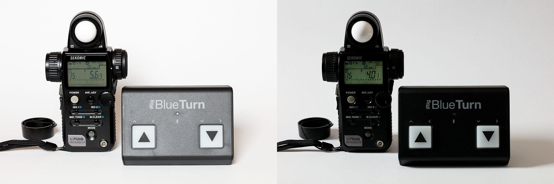Voorbeeldfoto van lichtmeter op camera gericht met flitsers elders