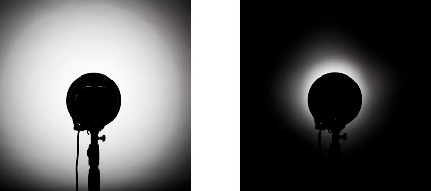 voorbeeld van twee studiofoto's met en zonder een grid