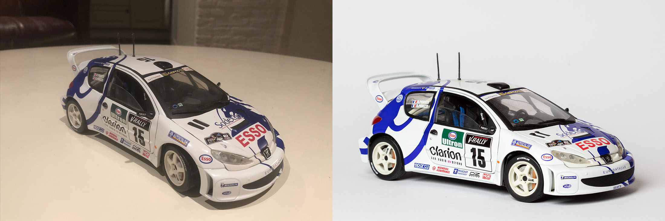 Een kiekje van een auto en een productofoto
