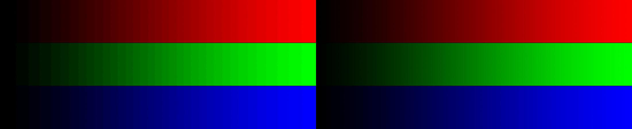 voorbeeldfoto van twee verschillende kleurverlopen