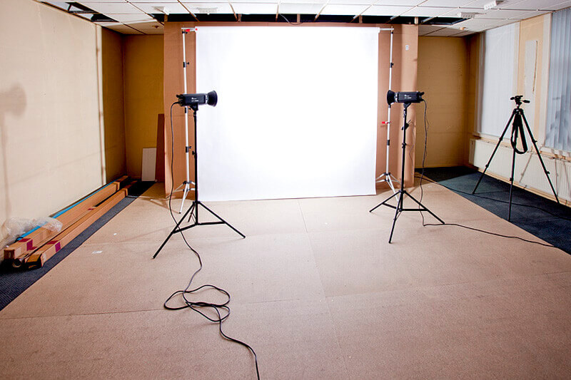 The setup of two flashes to create a white background